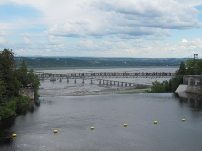 Tourist bridge, St. Lawrence river and Ile d'Orleans in a distance