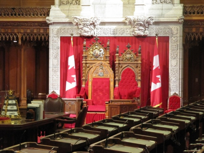 A throne of the British Queen in the Senate. Usually occupied by her representative, the Governor-General