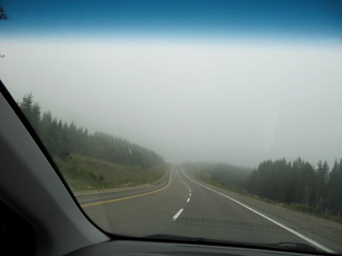 The road went higher and higher, the fog became thicker and thicker. It was not a fog, I was drivinf into a cloud!