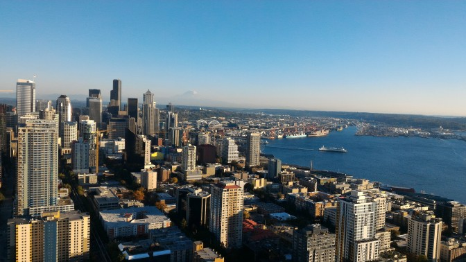 Seattle downtown seen from the Space Needle observation deck