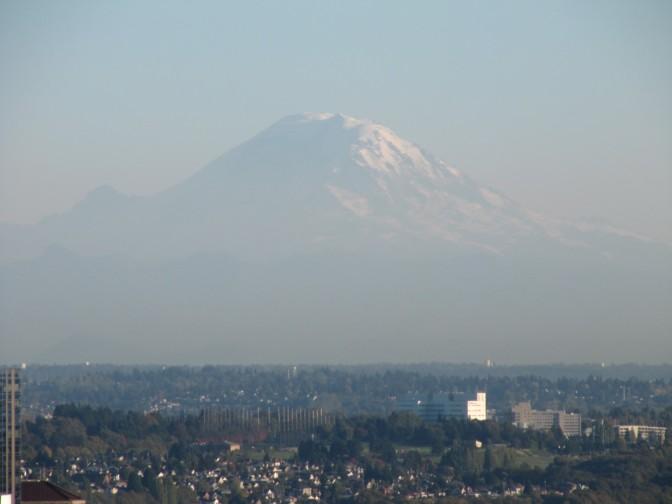 Mount Ranier dominates city skyline
