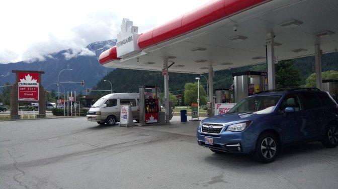 Subaru at gas station